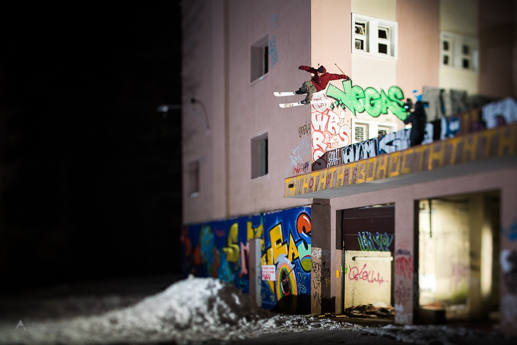Etienne Merel, freeskier performing a Wallride to drop at St Hilaire du Touvet, in a disused hospital up to Grenoble.