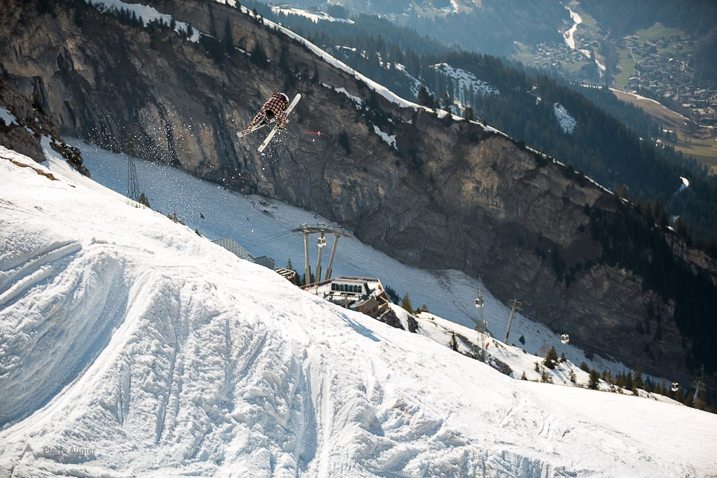 US freeskier Ian Borgeson during 2014 Faction Skis shooting  in La Clusaz Resort, France