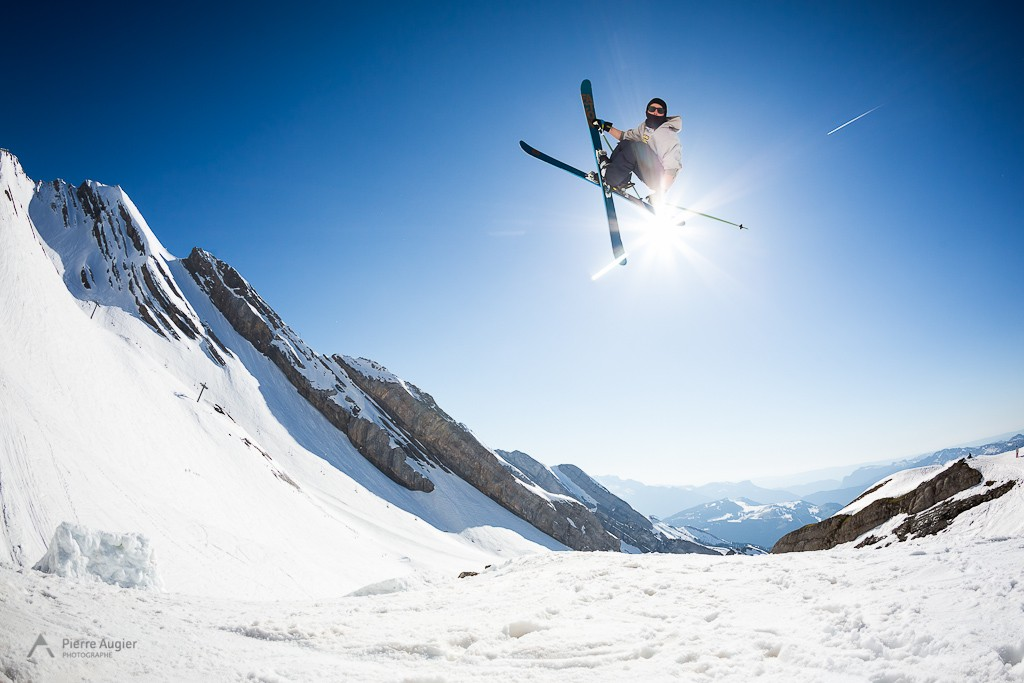French freeskier Tom Granier during 2014 Faction Skis shooting  in La Clusaz Resort, France