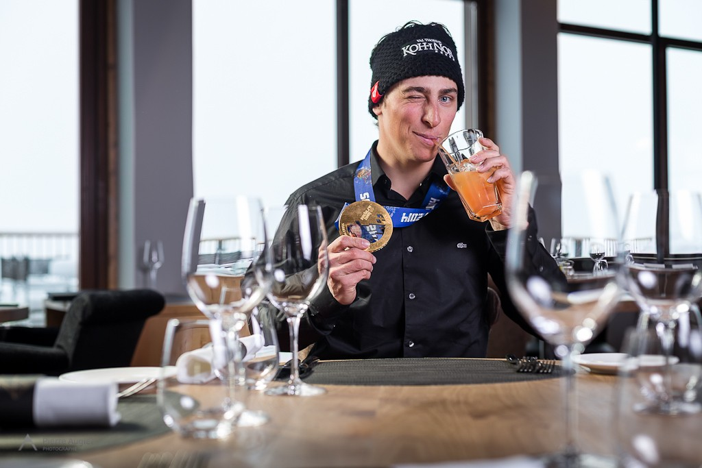 Jean Frederic Chapuis in his sponsor Hotel Koh-I Nor - Val Thorens, back from Russia after his gold medal in skiercross at Sochi 2014 Olympics.  Hotel Koh-I Nor - Val Thorens, back from Russia after his gold medal in skiercross.