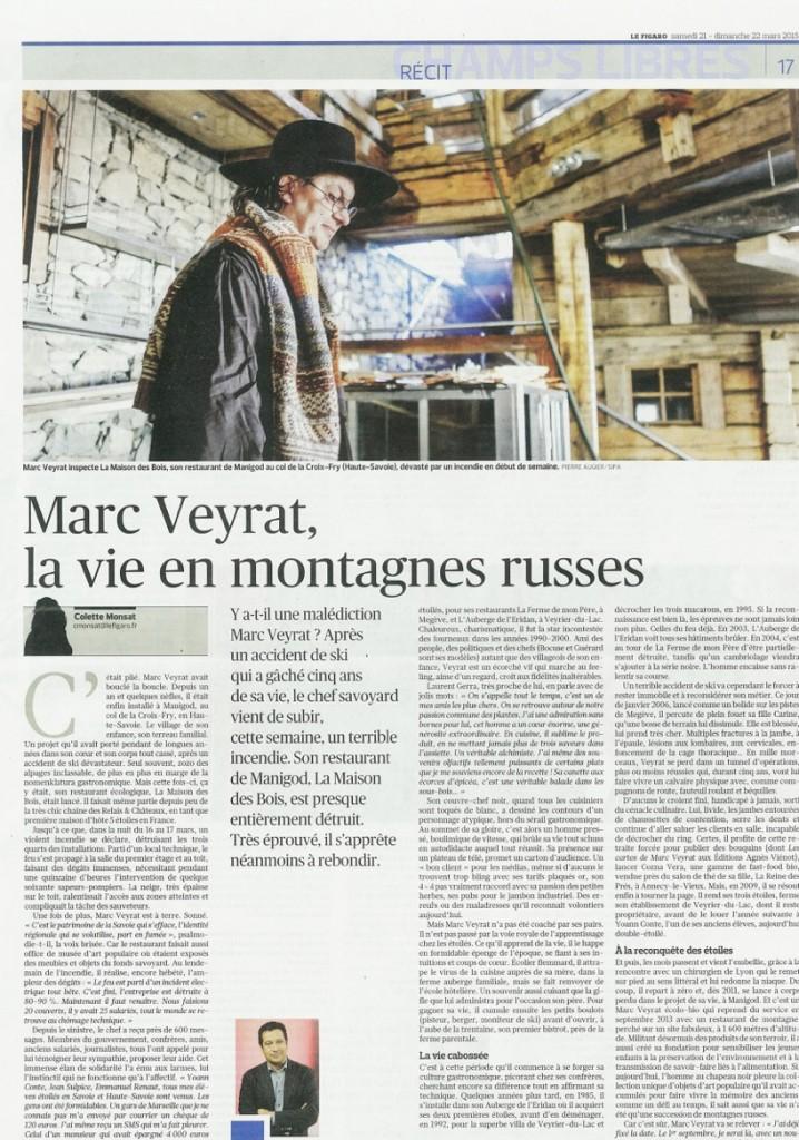 le Figaro du 21 mars 2015 « Marc Veyrat, la vie en montagnes russes » © Pierre Augier/ Sipa